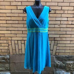 Boden blue green silk dress 10